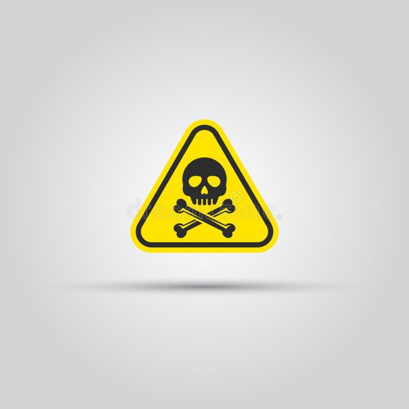Skalle och korsat triangulärt tecken för benvarning stock illustrationer