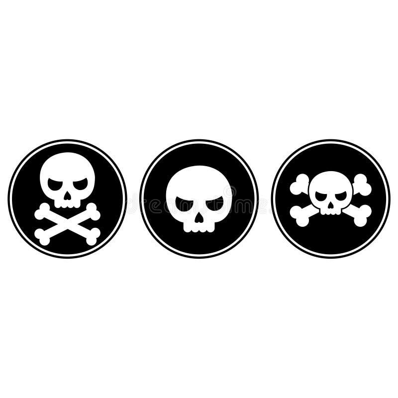 Skalle och korslagda benknotor symbol eller knapp stock illustrationer