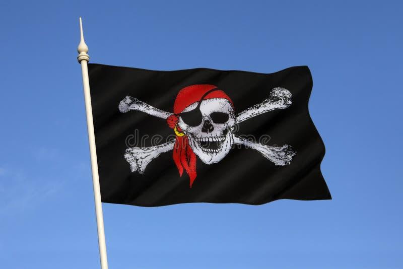 Skalle och korslagda benknotorflagga - Jolly Roger royaltyfri fotografi