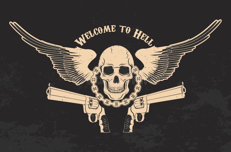 Skalle och två pistoler royaltyfri illustrationer