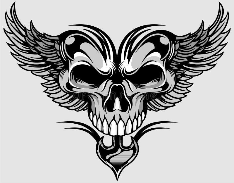 Skalle och vingar stock illustrationer