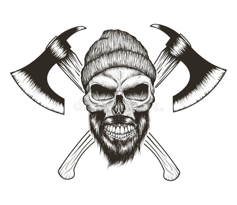 Skalle-skogsarbetare med skägget, hatten och två yxor stock illustrationer