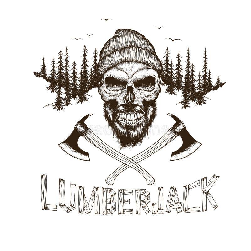 Skalle-skogsarbetare med två yxor royaltyfri illustrationer