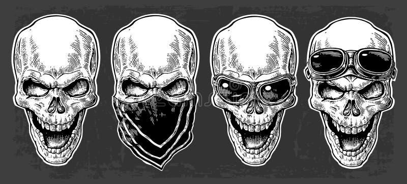 Skalle som ler med bandanaen och exponeringsglas för motorcykel Svart tappningvektorillustration För affisch- och tatueringcyklis stock illustrationer