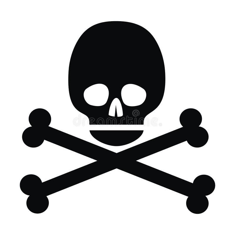 Skalle svart symbol royaltyfri illustrationer