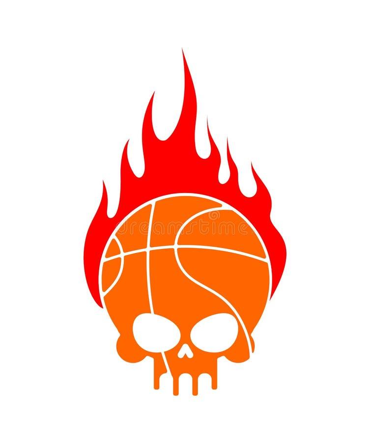 Skallebasket och brand Bollen är huvudet av skelettet emblem vektor illustrationer