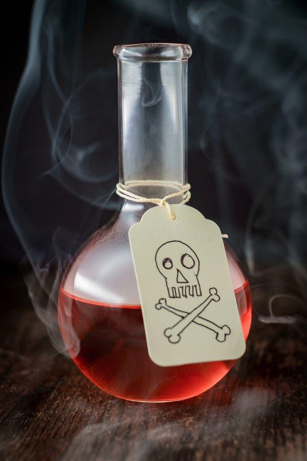Skallekorslagda benknotor förgiftar flaskan royaltyfri foto