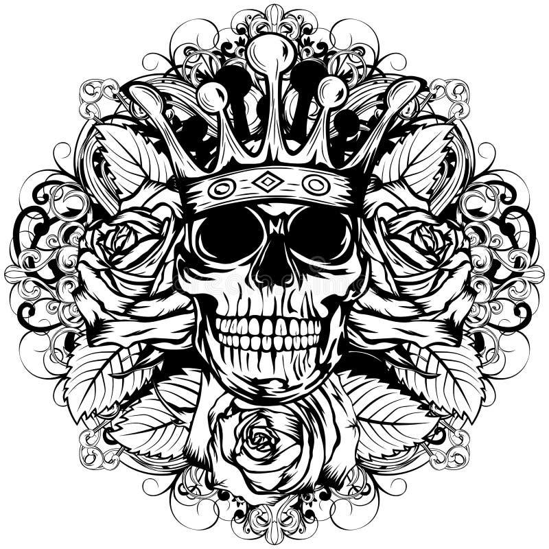 Skallekrans steg royaltyfri illustrationer