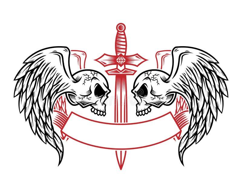 Skallelogo, symbol eller skalleillustration med vingar, vektor av ske vektor illustrationer