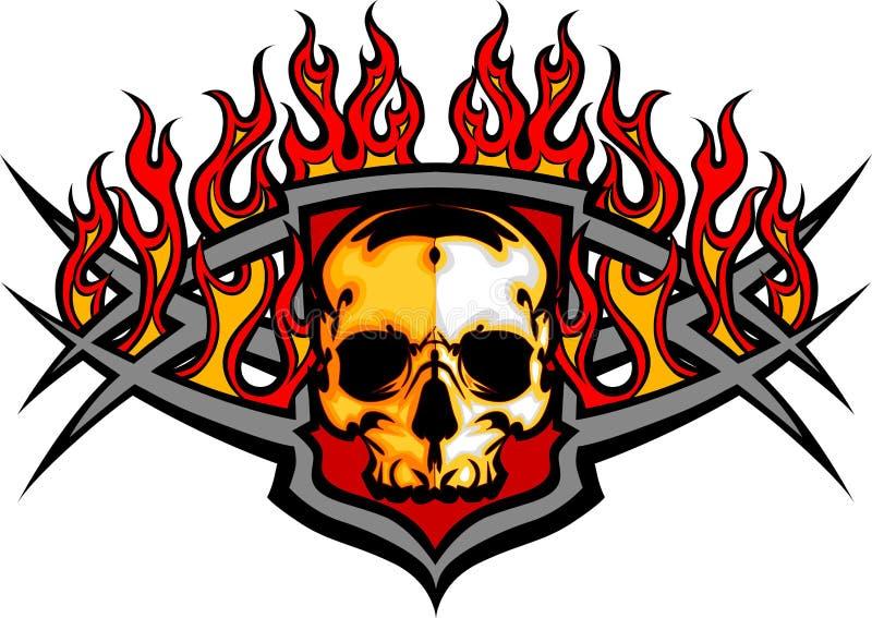 Skallemall med flammabild vektor illustrationer