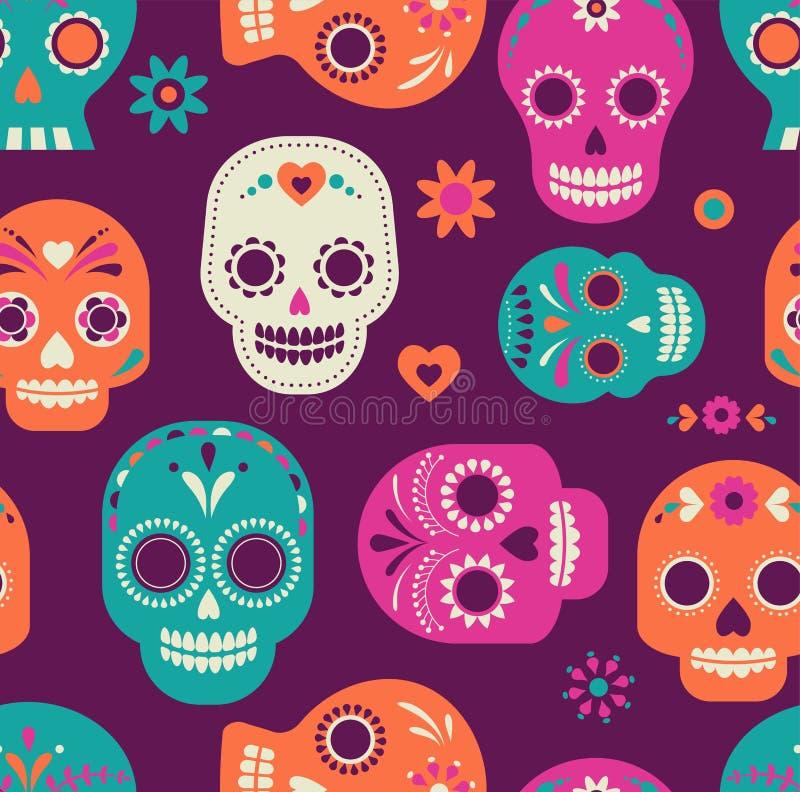 Skallemodell, mexicansk dag av dödaen royaltyfri illustrationer