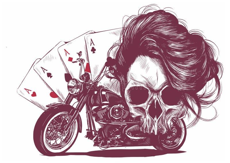skallen för illustrationmotorcykelkvinnan med att spela cards poker royaltyfri illustrationer