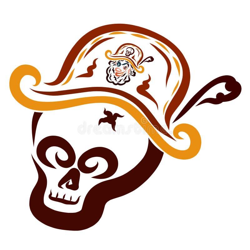 Skallen i piratkopierar hatten som visar en pirates huvud stock illustrationer