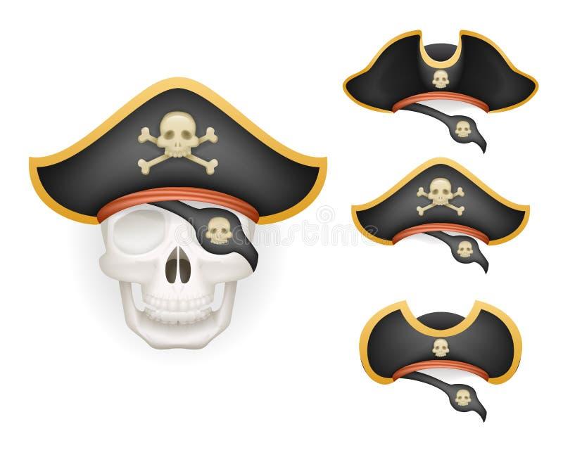 Skallen med piratkopierar hattar ställde in det realistiska huvudet isolerade illustrationen för mallmodellvektorn stock illustrationer