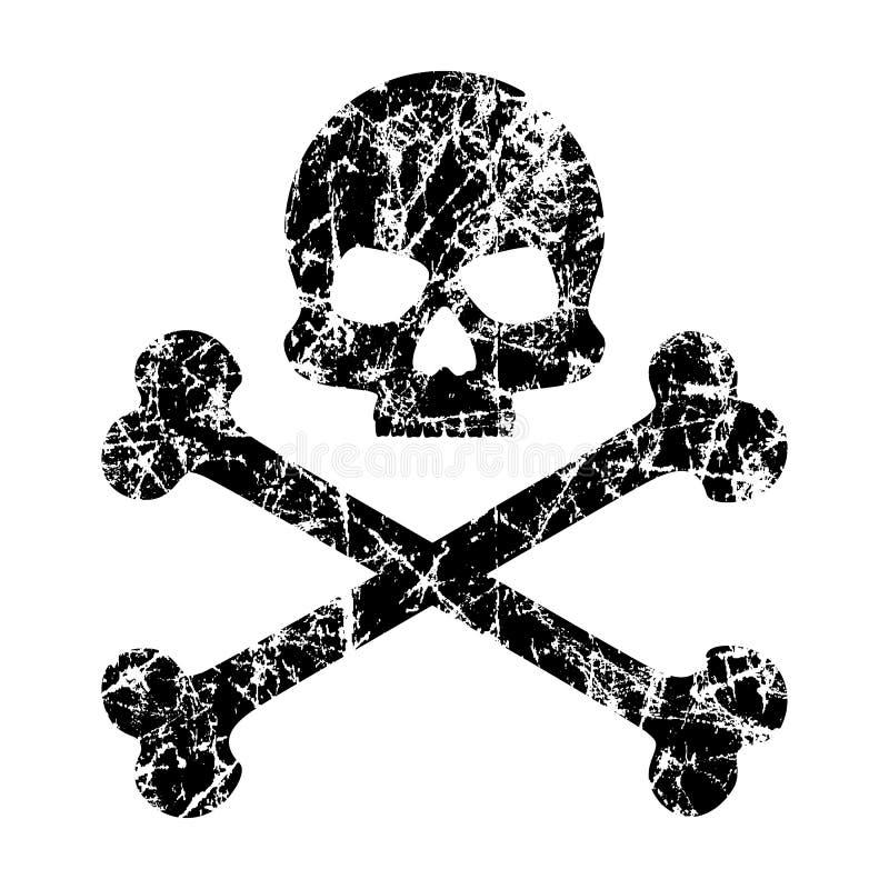 Skallen och korslagda benknotor skrapade på en isolerad vit bakgrund Sliten skallesymbol Symbolet av piratkopierar kantlagrar låt royaltyfri illustrationer