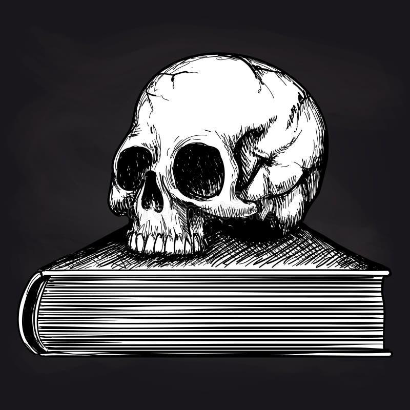 Skallen på boken skissar på svart tavla stock illustrationer