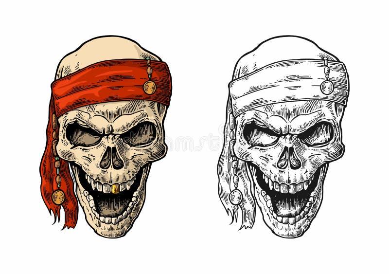Skallen piratkopierar, i att le för bandana Svart tappninggravyr royaltyfri illustrationer