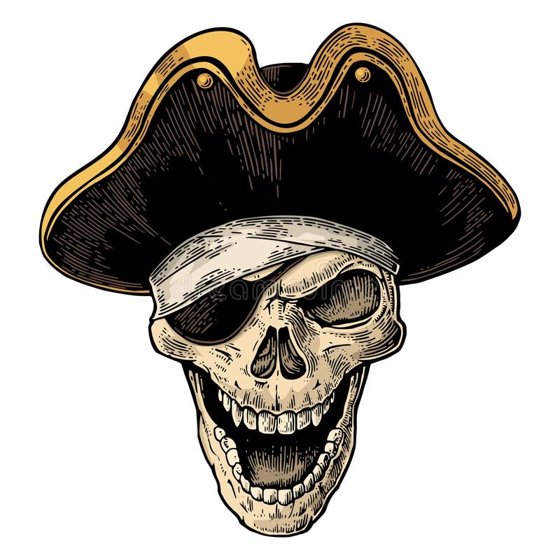 Skallen piratkopierar in kläder synar att le för lapp och för hatt Svart tappninggravyr stock illustrationer