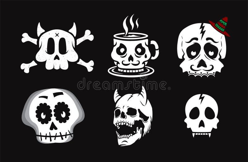 Skallevektorillustration Svart bakgrund royaltyfri illustrationer