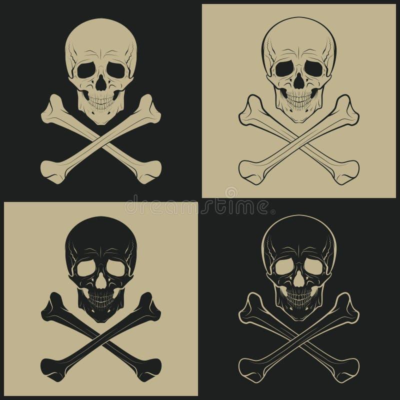 Skallevektorsymboler vektor illustrationer