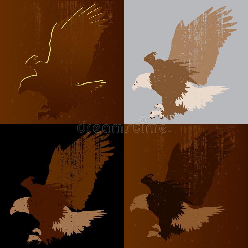 skallig örnlandning royaltyfri illustrationer