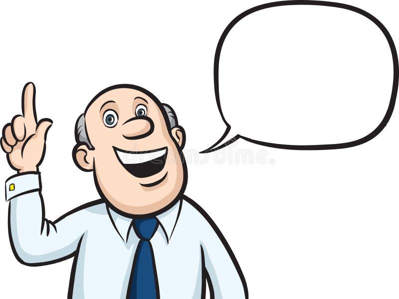Skallig affärsman för tecknad film med anförandebubblan som pekar fingret royaltyfri illustrationer