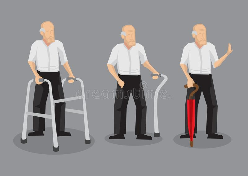 Skallig gamal man med att gå teckenet för hjälpmedelvektortecknad film Illustrat vektor illustrationer