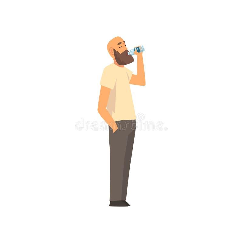 Skallig skäggig man som dricker nytt rent vatten från plast- flaskvektorillustration royaltyfri illustrationer