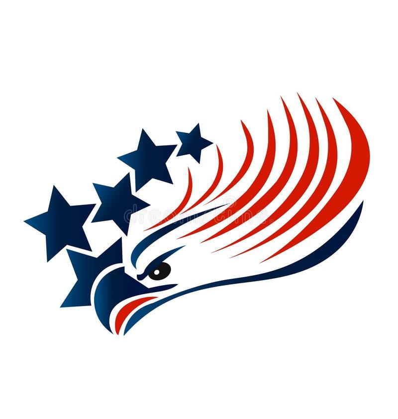 Skalliga Eagle American Flag stock illustrationer