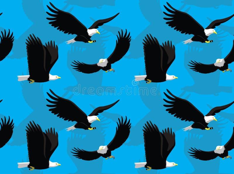 Skalliga Eagle Flying Cartoon Seamless Wallpaper stock illustrationer