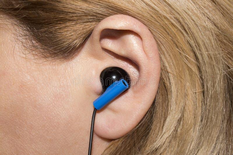 Skalm i det mänskliga örat royaltyfri fotografi