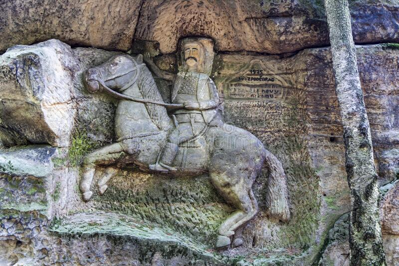 Statues  in the rock,  Kopic estate from 18th Cent., Bohemian Paradise region, Czech republic. Statues  in the rock,  Kopic estate from 18th Cent., Bohemian stock photography