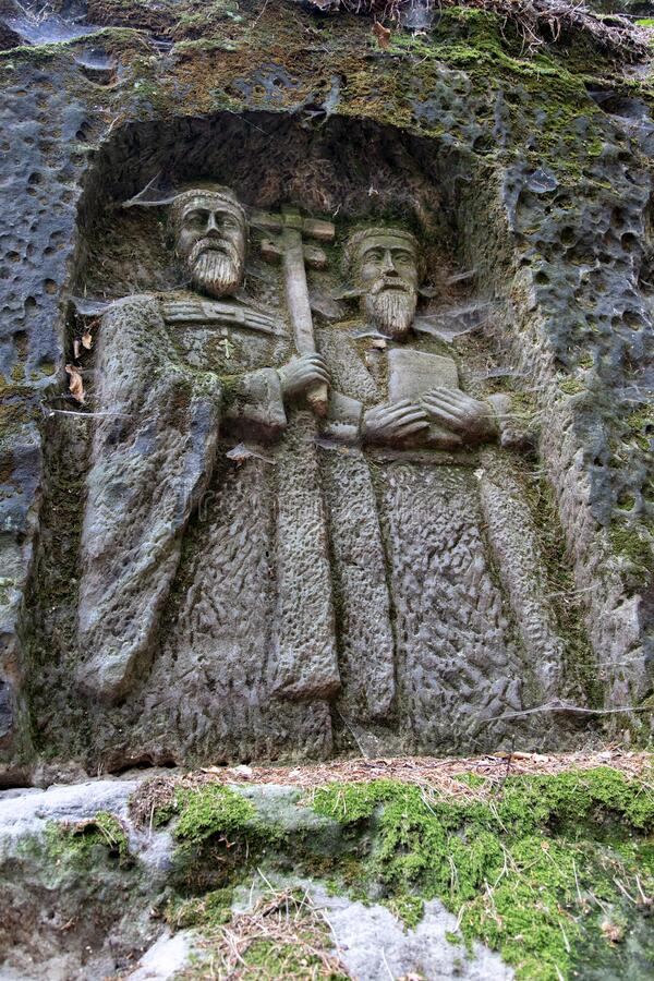 Statues  in the rock,  Kopic estate from 18th Cent., Bohemian Paradise region, Czech republic. Statues  in the rock,  Kopic estate from 18th Cent., Bohemian royalty free stock photos