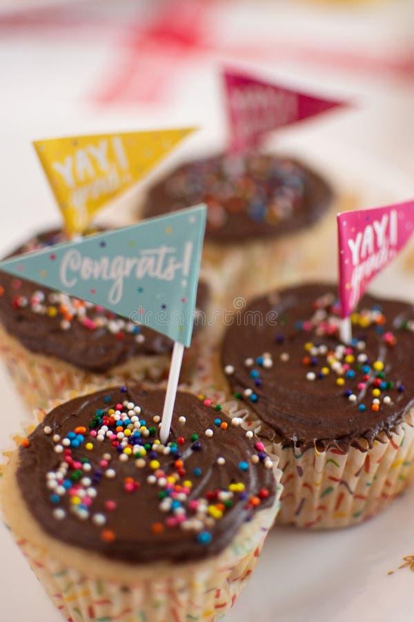 Skalowania świętowania babeczki z czekoladowym lodowaceniem zdjęcie royalty free