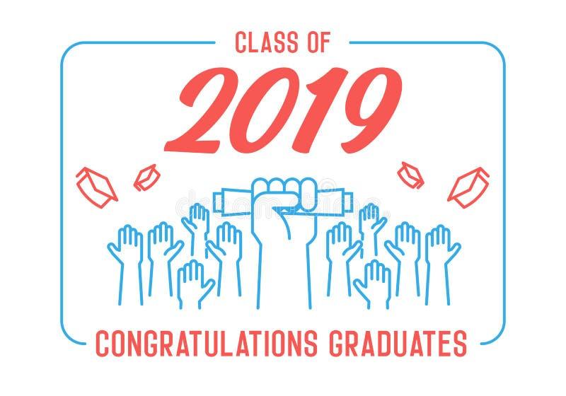 Skalowanie dzie? Klasa 2019 świętowanie Absolwenci świętuje ich akademickich kapelusze i rzuca w powietrze Końcówka naukowiec ilustracja wektor