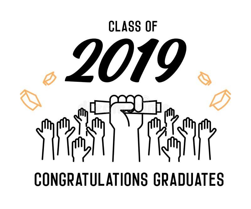 Skalowanie dzie? Klasa 2019 świętowanie Absolwenci świętuje ich akademickich kapelusze i rzuca w powietrze Końcówka naukowiec royalty ilustracja