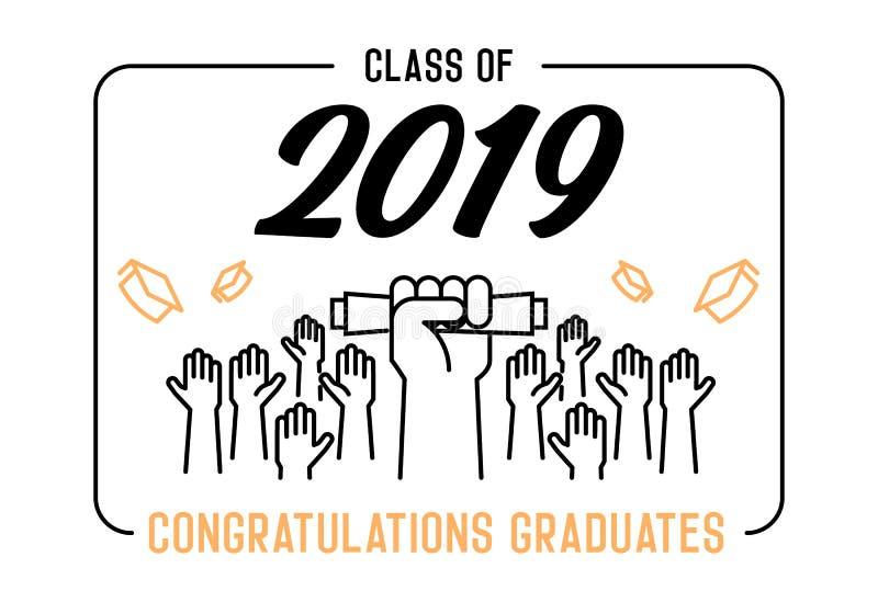 Skalowanie dzie? Klasa 2019 świętowanie Absolwenci świętuje ich akademickich kapelusze i rzuca w powietrze Końcówka naukowiec ilustracji