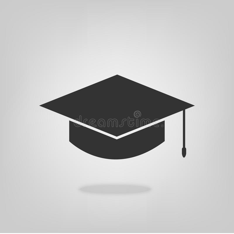 Skalowanie ikony edukaci symbolu kapeluszowa płaska wektorowa klasa szyldowa ilustracja royalty ilustracja