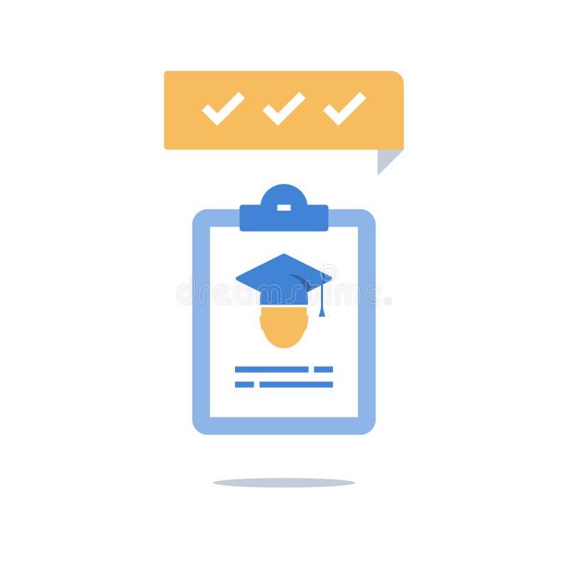 Skalowanie kapelusz i schowek, program edukacyjny, czek wiedza, egzaminu przygotowanie, trenuje prostacką rekrutację, stypendium ilustracja wektor