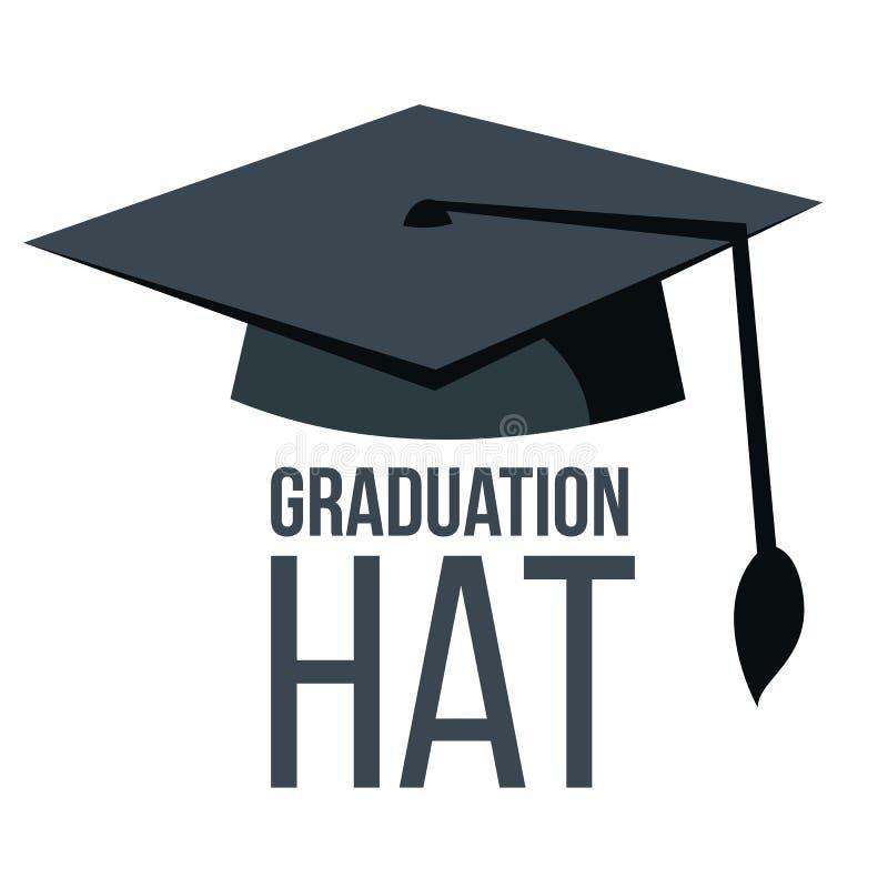 Skalowanie kapeluszu wektor Czarna Akademicka Studencka nakrętka Edukaci ikona Koniec edukaci symbol Odosobniona kreskówka ilustracja wektor