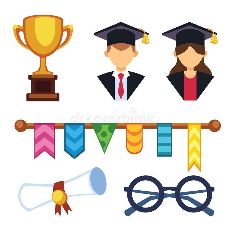 Skalowanie kobiety i mężczyzna sylwetka munduruje avatar wektoru ilustrację Studencki edukaci szkoły wyższa sukcesu charakter z ilustracji