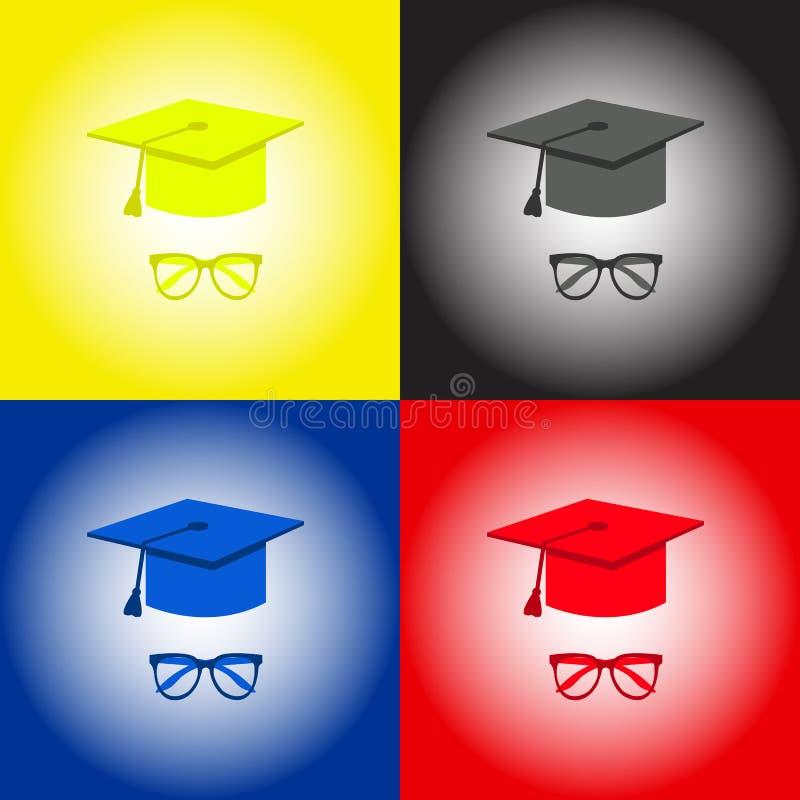 Skalowanie nakrętka, studenccy akcesoria kapelusze i szkła, Kolor żółty, czerń, błękit, czerwień ilustracji