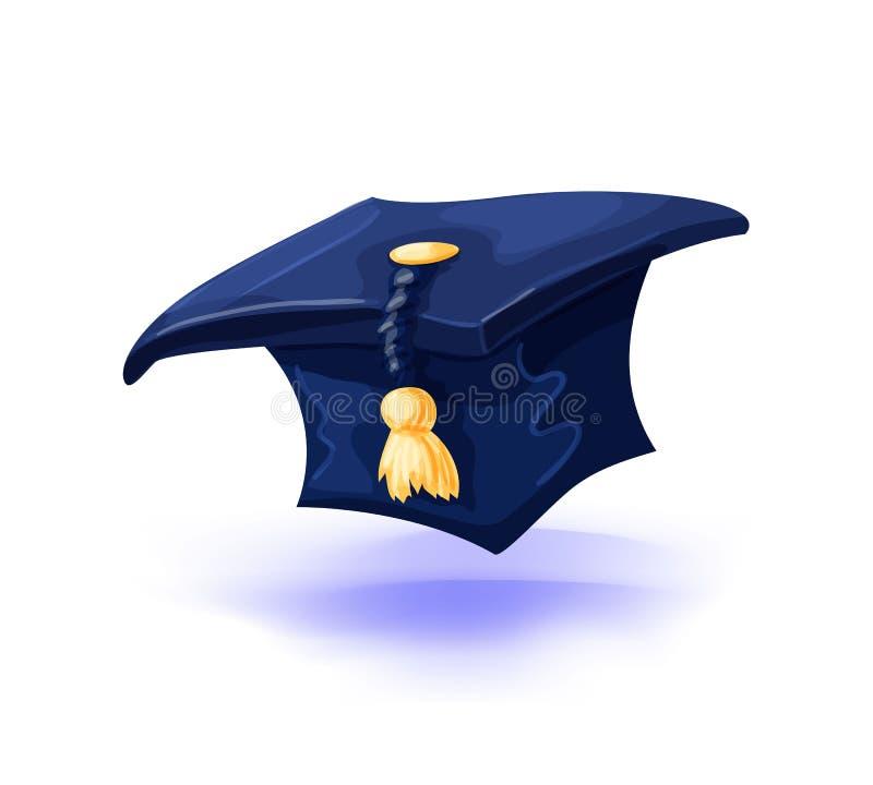 Skalowanie nakrętka z złocistą kitką odizolowywającą na białym tle Szkoła wyższa wychowankowie kapeluszowi również zwrócić corel  ilustracja wektor