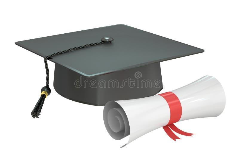 Skalowanie nakrętki dyplom, 3D rendering ilustracja wektor