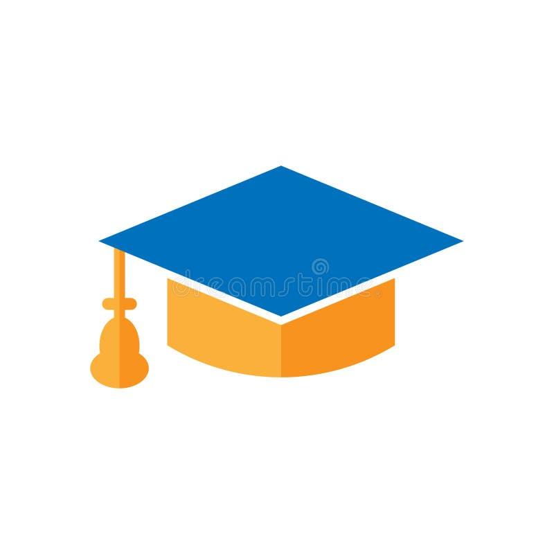 Skalowanie nakrętki ikona w mieszkanie stylu Edukacji kapeluszowa wektorowa ilustracja na białym odosobnionym tle Uniwersytecki k royalty ilustracja