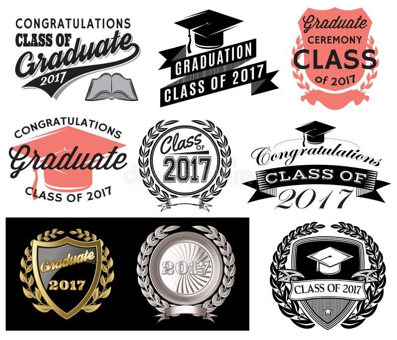 Skalowanie wektoru setu klasa 2017 Congrats absolwenta gratulacje Kończy studia ilustracja wektor