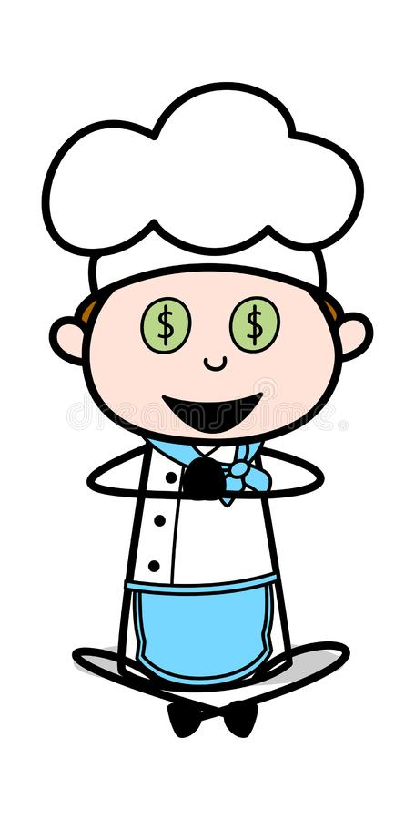Skandera för pengar - tecknad filmuppassareMale Chef Vector illustration stock illustrationer