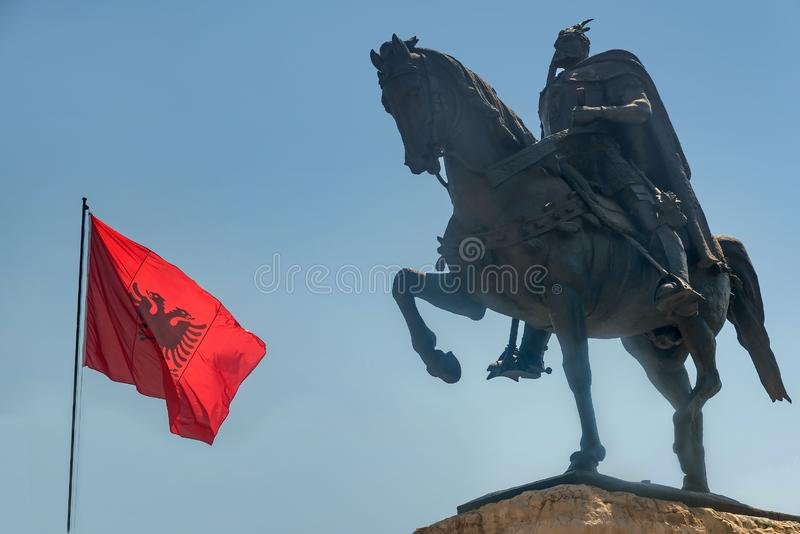 Skanderbeg Monument in Tirana, Albania.  royalty free stock photos