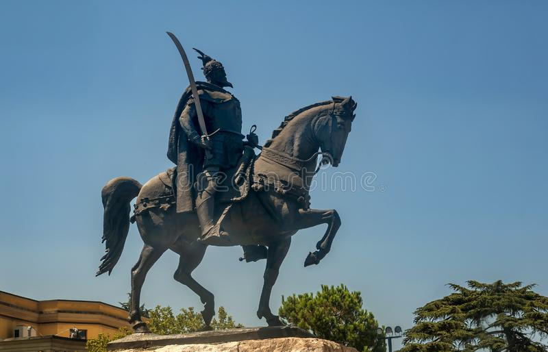 Skanderbeg Monument in Tirana, Albania.  stock photo