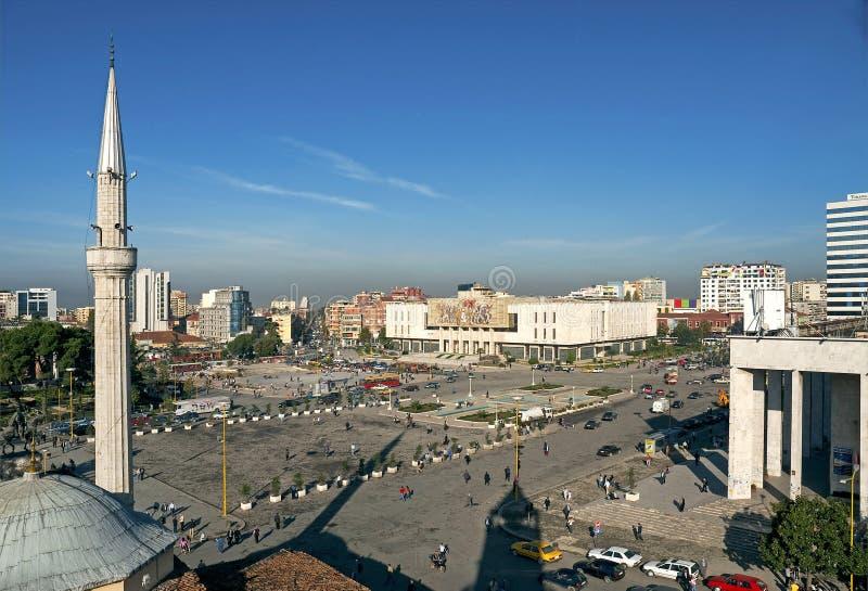 Skanderberg-Quadrat in Tirana Albanien stockfotografie
